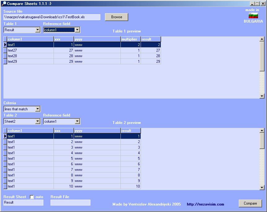 Compare Sheets