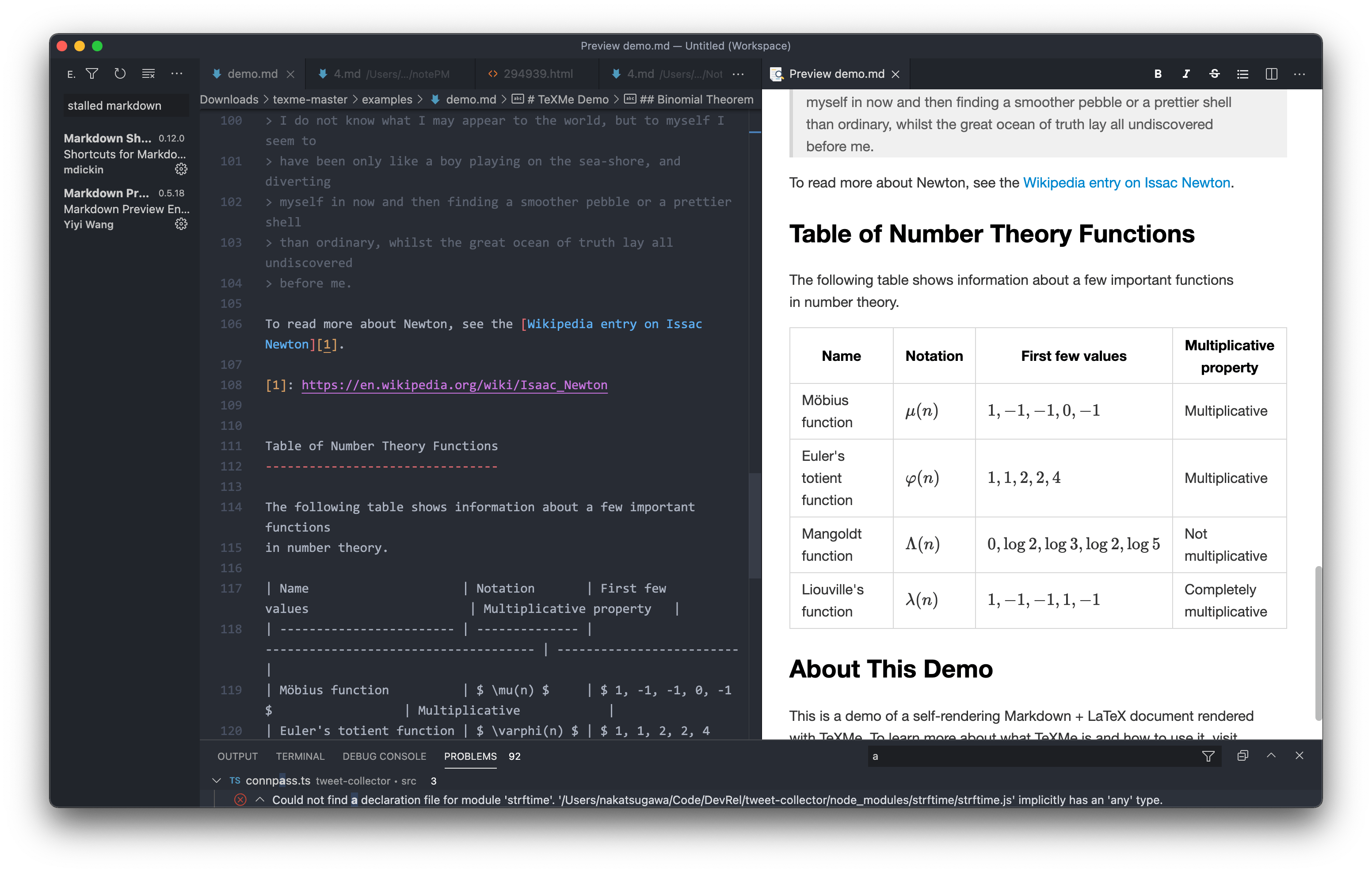 Markdown Preview Enhanced LaTeX